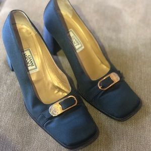 Gianni Versace Vintage Square Toe Heels 38 1/2